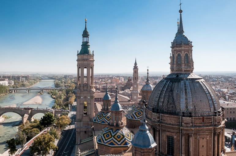 It's worth going to the roof of Zaragoza's Basílica de Nuestra Señora del Pilar for views of its towers, domes and the city