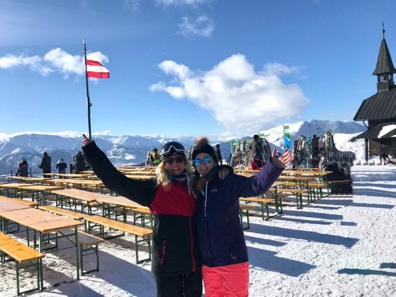 Shelley and Heidi take a break at SchapsHans in Schmitten