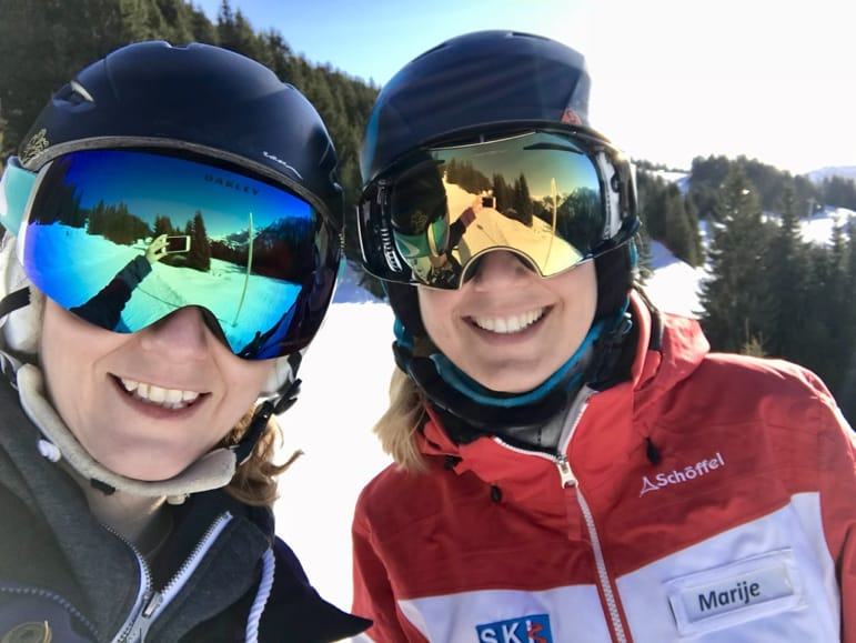 Shelley and guide Marije - would they attempt the Skicircus challenge?