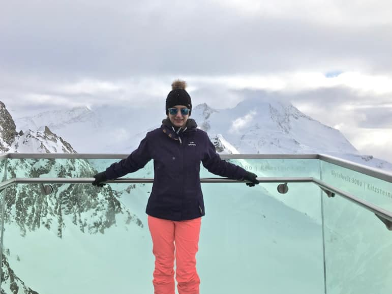 Shelley taking in the mountain views at Kitzsteinhorn in Zell am See-Kaprun