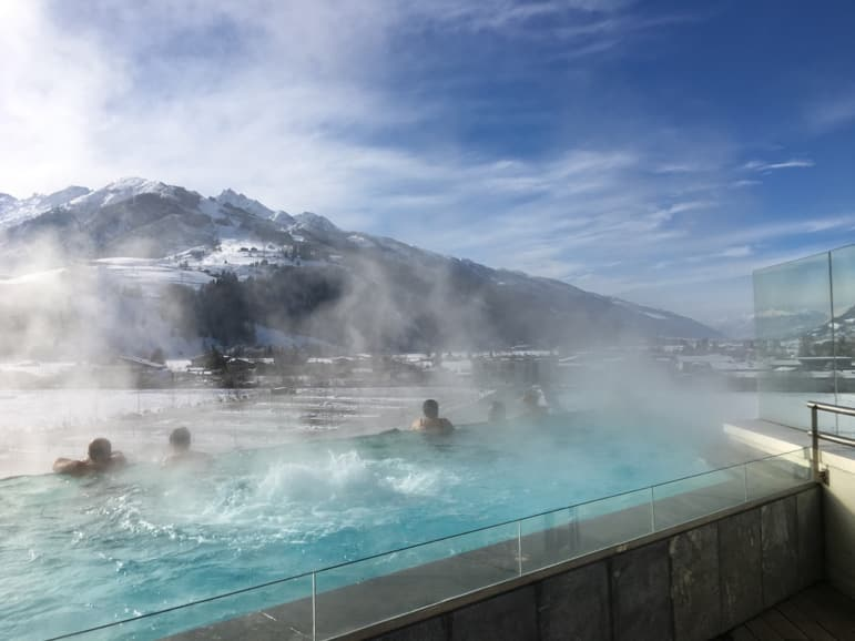 The hotel pool at Tauern Spa Hotel faces onto Kitzsteinhorn glacier