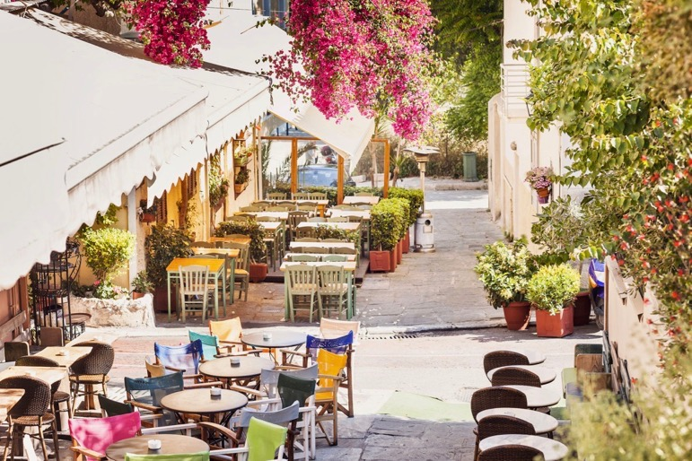 The charming Plaka District is home to quaint restaurants and unique shops