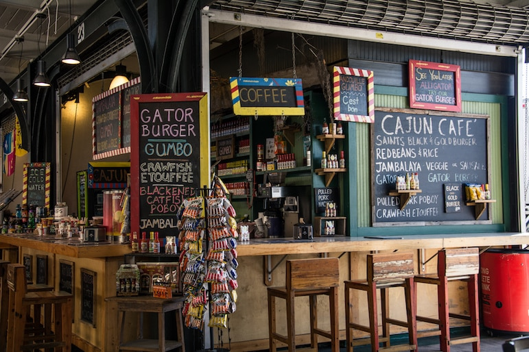 One of the things to do in New Orleans, visit the French Market for everything from clothes to local dishes - pictured is the Cajun Kitchen | Pic MsSaraKelly