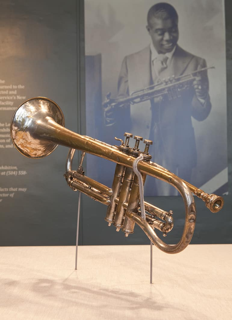 Louis Armstrong's first cornet on display at the New Orleans Jazz Museum | Pic New Orleans Jazz Museum