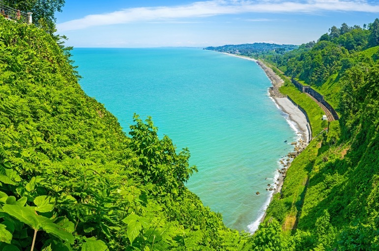 The Black Sea's turquoise waters contrast against the lush green gardens