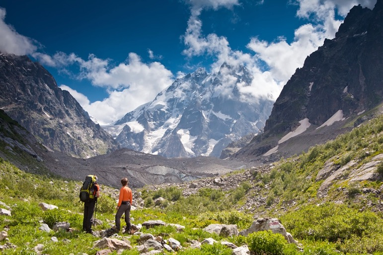 Georgia's Caucasus Mountains have fantastic hiking routes and incredible views across the valleys below