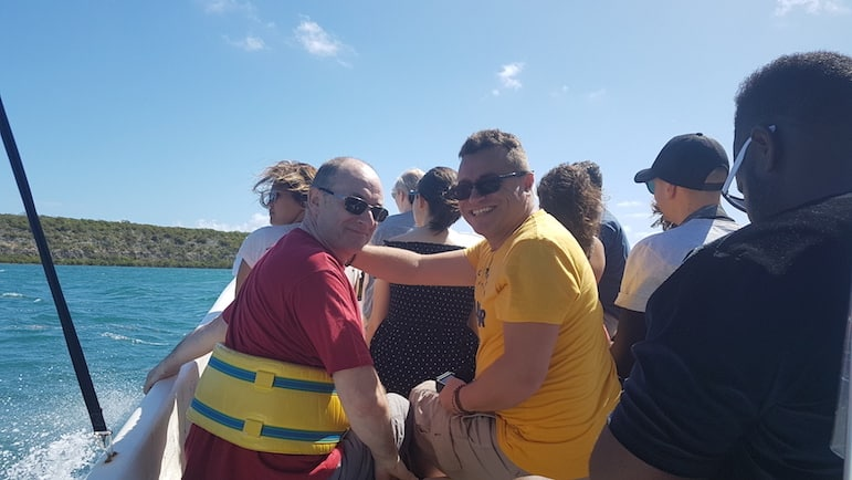 For me, holidays in Antigua, mean boat trips with mates | pic: Michael Ball