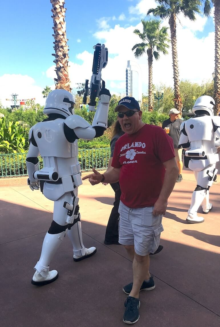 Peter reliving his childhood love of Star Wars and the Storm Troopers | Pic: Lorraine Loveland