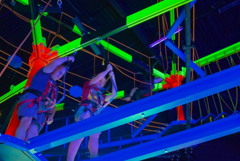Testing their agility on the neon high ropes course at Wonderworks | Pic: Lorraine Loveland