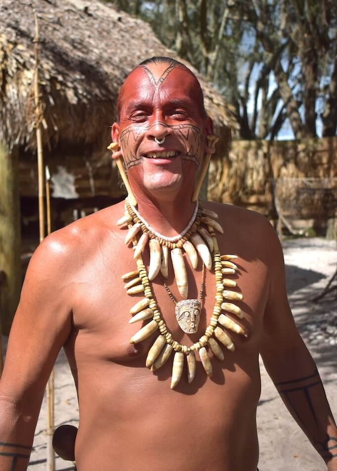 Traditional dress and face paint markings for Native Americans presented in the fascinating Native American Village at Boggy Creek Airboat Rides | Pic: Lorraine Loveland