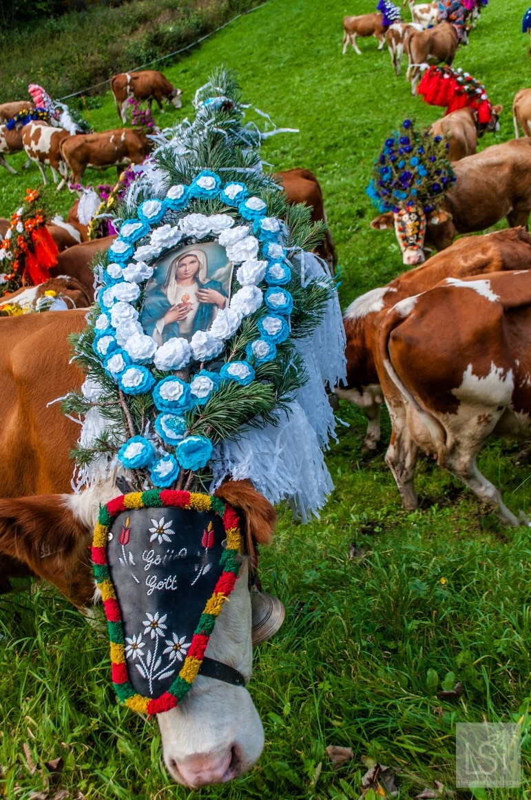 A religious element to Kufstein annual cattle drive festival or Almabtrieb in the Tirolean Alps