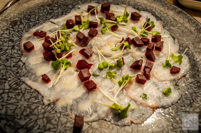 Carpaccio of monkfish with beetroot, daikon cress and lime starter at Aiola Upstairs