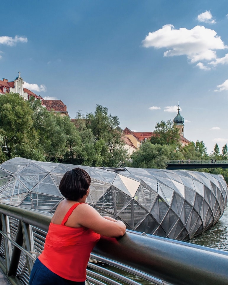 Enjoy views of the City of Graz from the Murinsel