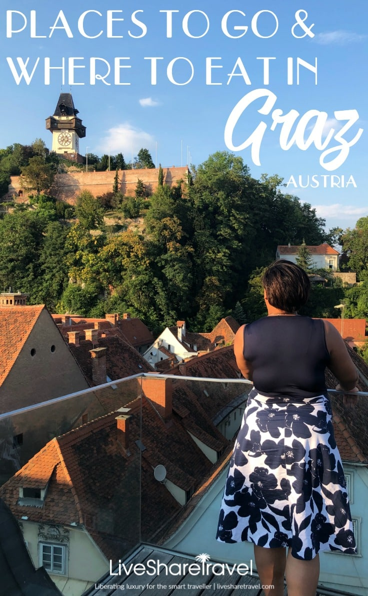 Looking out at views of the city of Graz