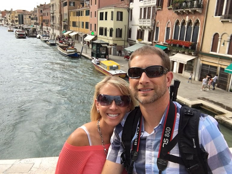 Jennifer Bocchi and her husband pose for a snap in Venice during a holiday home swap