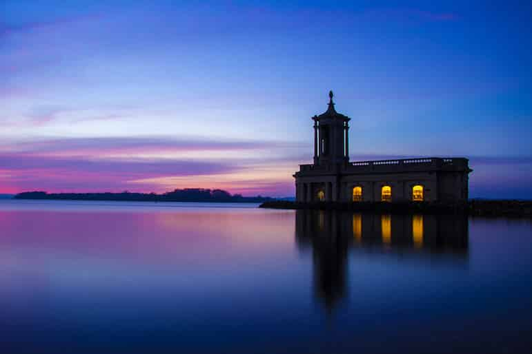 Normanton Church on the banks of Rutland Water makes for a spectacular sight at sunset
