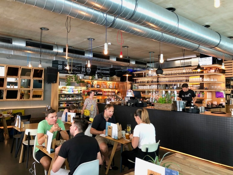 The industrial Kunsthaus cafe makes for laid back dining in Graz