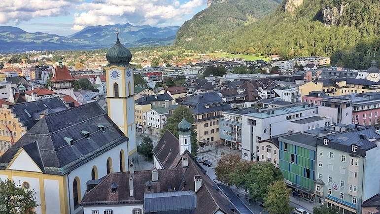 The town of Kufstein is surrounded by the Tirolean Alps