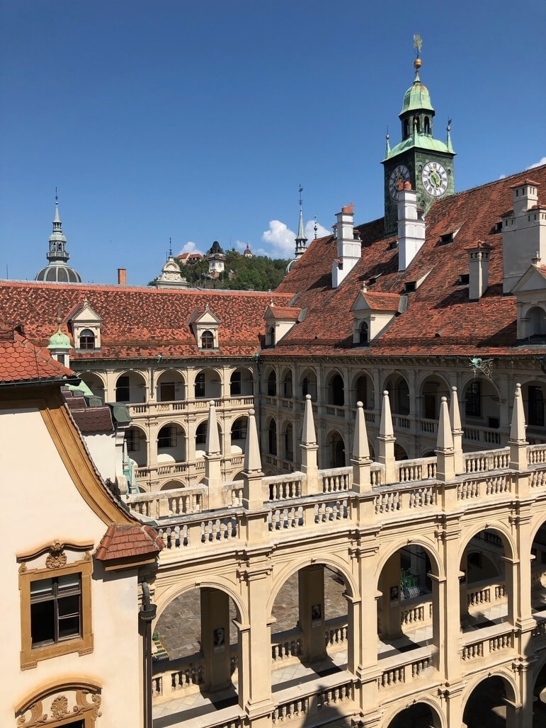 Things to do in the city of Graz - spend time taking in the Landhaus and its Renaissance arcades