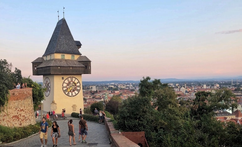 What to do in Graz - see the unusual clocktower and city panoramas from the Schlossberg