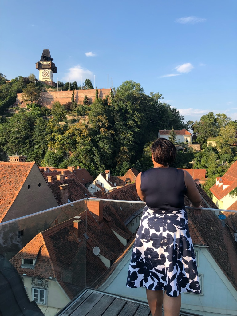 What to do in Graz - view the city's Schlossberg from Kastner & Öhler