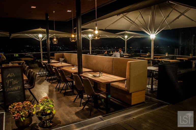 Where to eat in Graz - head to Aiola Upstairs for dinner with a view of the city's lights and panorama