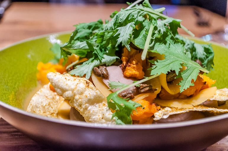 Indian Pumpkin was a dish of delicate curry flavoured butternut squash, chestnuts, coconut and poppadoms.