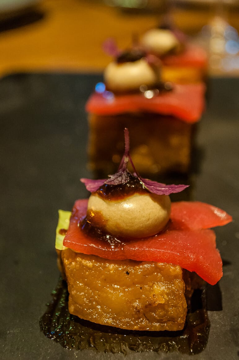 Our starter of crispy Iberico pork belly with tuna