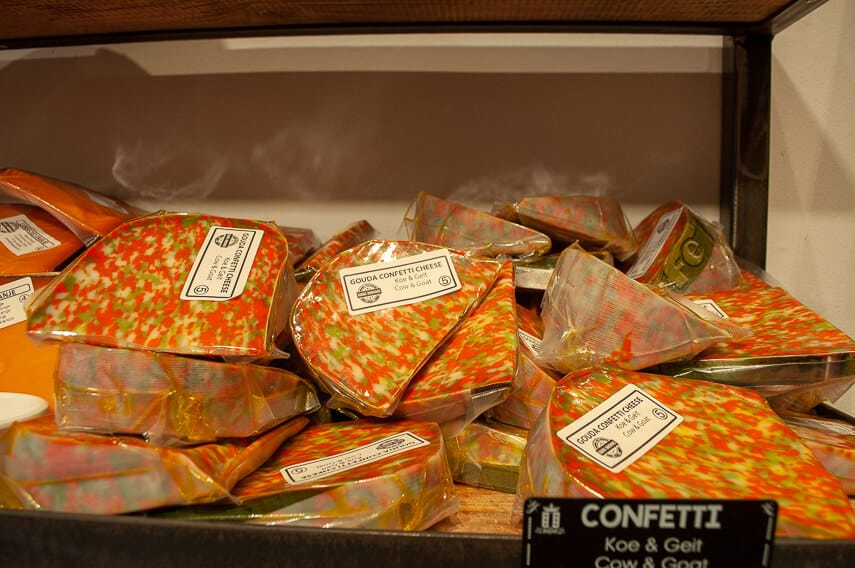 Colourful confetti cheese at the Gouda Cheese House