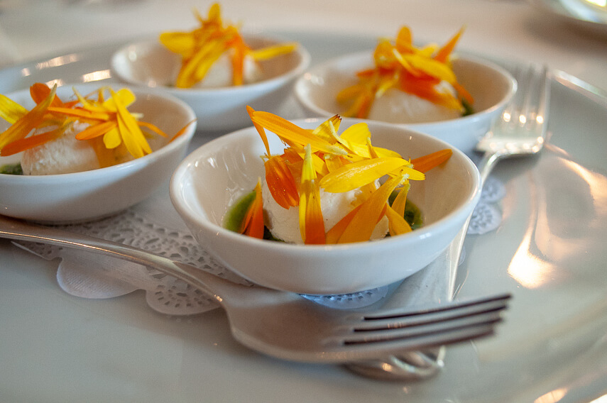 Curd with marigold and oregano oil