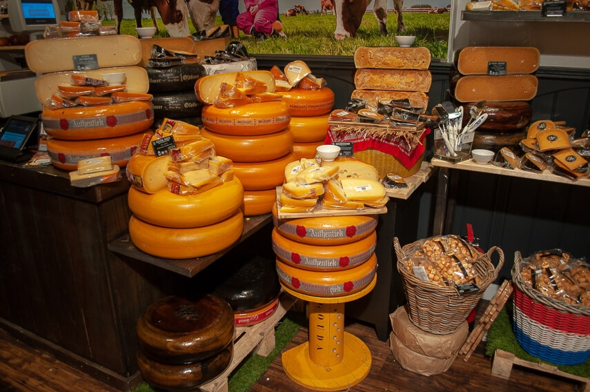 Some of the many unusual and delicious cheeses at the Gouda Cheese House