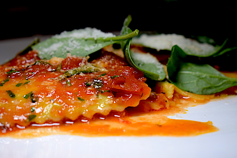 Spinach ravioli dish at the hotel's onsite restaurant, Restaurant Tiffany | pic: Lorraine Loveland