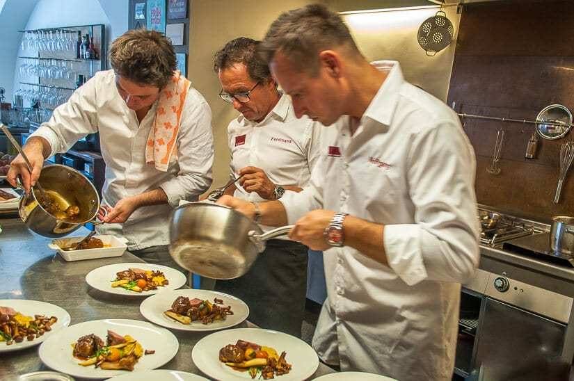 Chefs Ferdinand, Michi and Wolfgang serve up Austrian food specialties for lunch at our cooking class at Kitchen 12