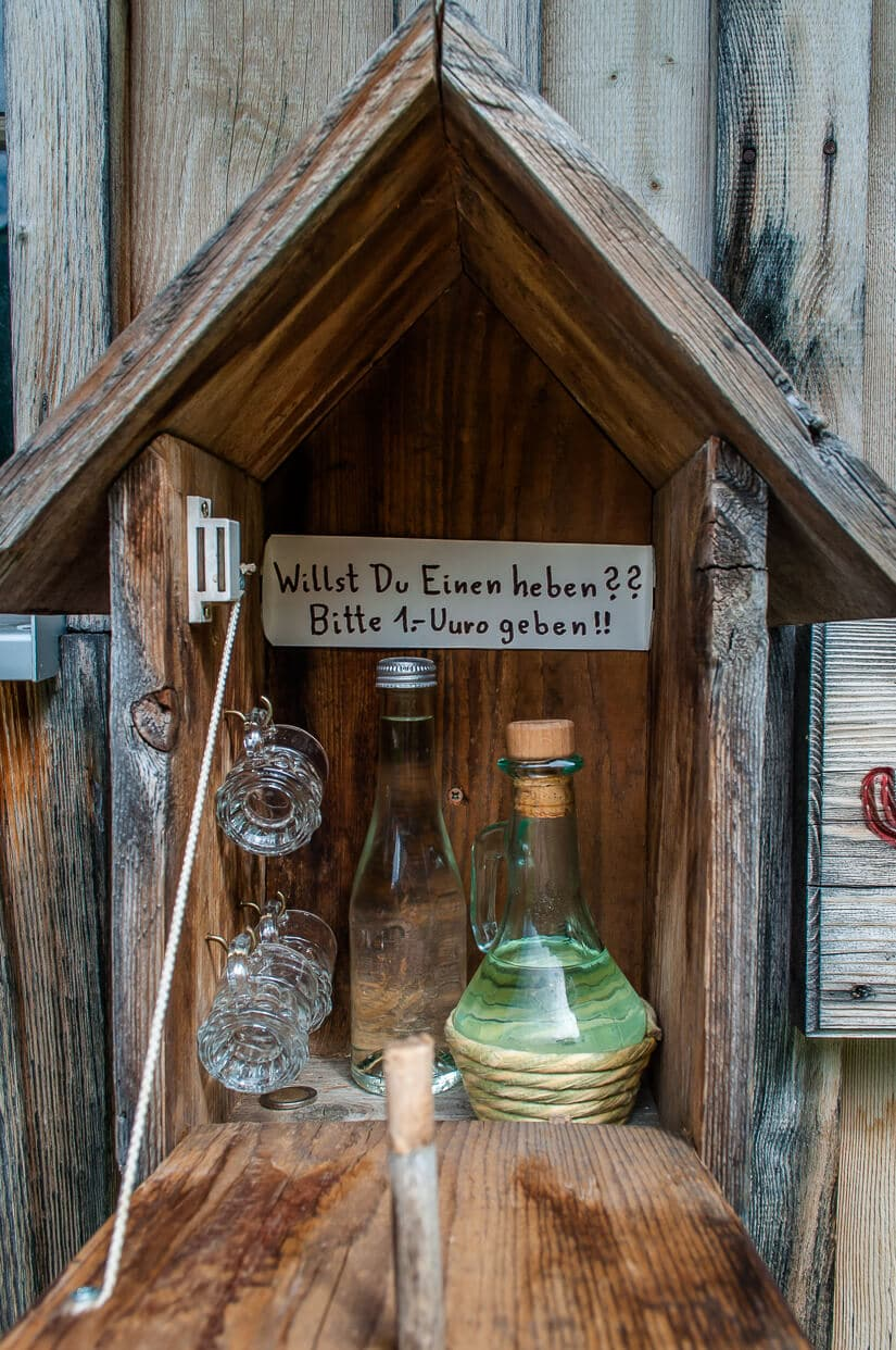 Schnapps in a hut on the mountainside - just pay €1 and serve yourself a shot
