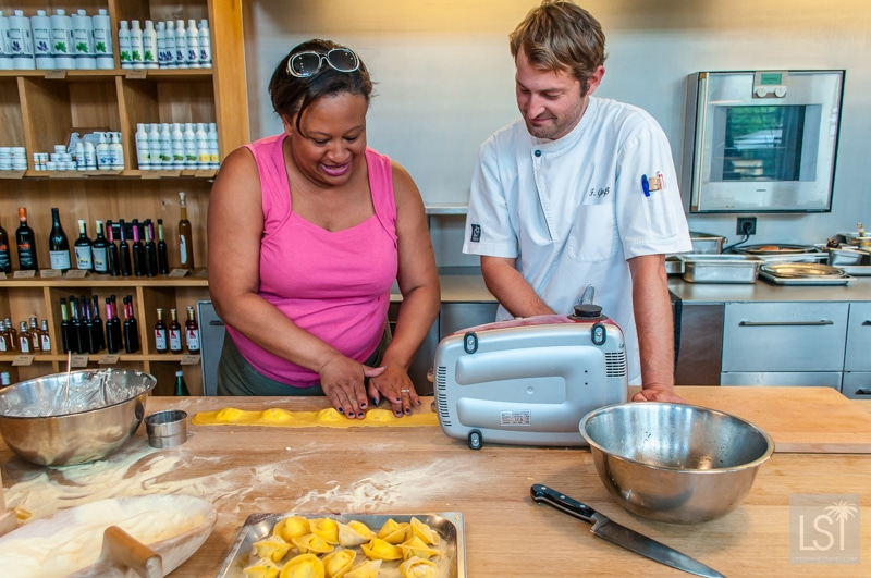 Felix from the Ernele restaurant shows Sarah how to make ravioli