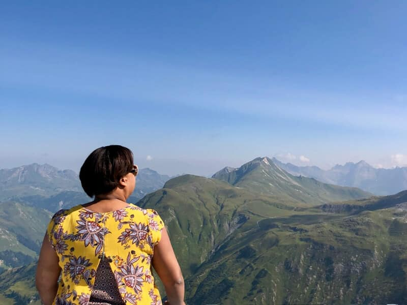 Taking in the view from on top of Mt Rüfikopf Lech Austria