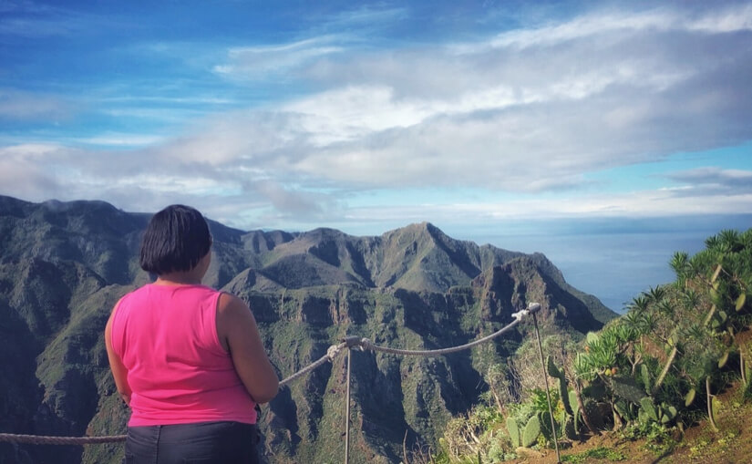 Woman looking at mountain view in Anaga, north Tenerife