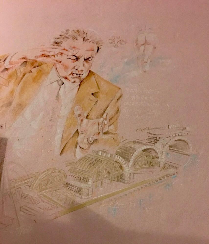 Federico Fellini mural in Borgo San Giuliano