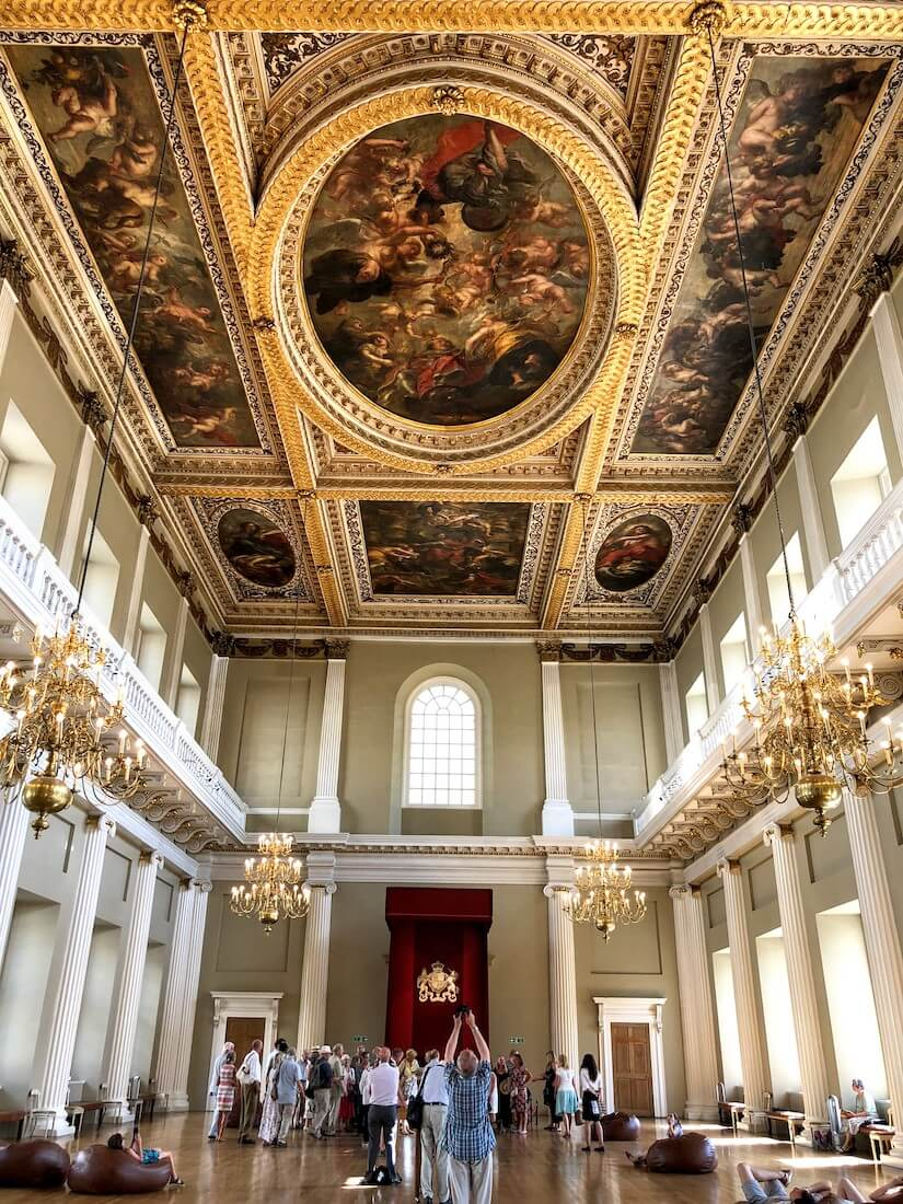 Rubens paintings on the ceiling of Banqueting House - a former royal palace in London