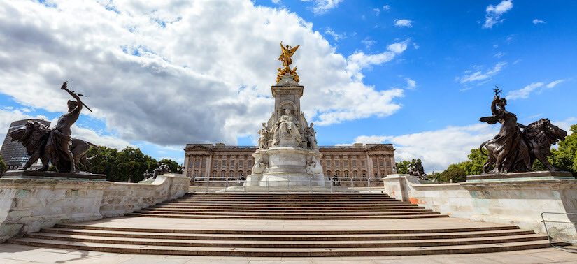 Victoria Memorial with Buckingham Palace in the background