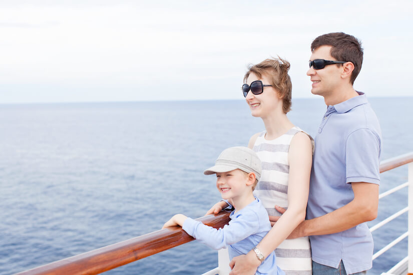 Onboard happy family with RCI Cruise